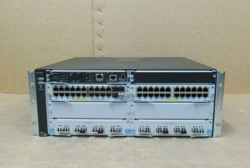 Aruba 5406R ZL2 J9850A Switch W/ 1x J9827A 1x J9990A 1x J9986A 2x J9538A Chassis